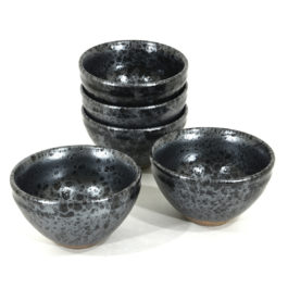 5 tea bowls with Oil spot pattern